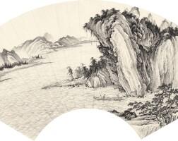 2744. 陳少梅 赤壁夜遊 | 水墨紙本 扇面 鏡框 一九三三年作