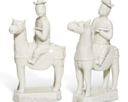 226. a pair of chinese dehua equestrian figures, qing dynasty, 18th century
