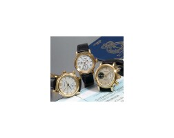 493. a fine and rare set of three pink gold wristwatches, les monts sa, neuchatel-london-greenwich, limited edition no. 000/225 1998