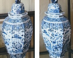 4. a pair of dutch delft blue and white large vases and covers 18th century
