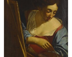43. emilianschool, mid 17th century | portrait of a female artist painting (a self-portrait?), half length