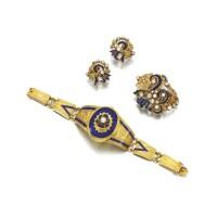 12. gem set, gold and enamel demi-parure, second half of the 19th century