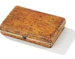 204. a fabergé gold-mounted wood cigarette case, workmaster victor aarne, st petersburg, 1899-1908