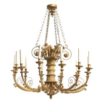 8. a northitalian neoclassical giltwood twelve-light chandelier possibly austrian, first half 19th century