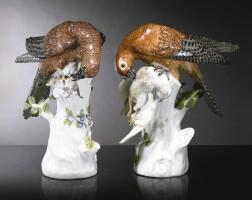 22. a pair of meissen figures of sparrowhawks circa 1739