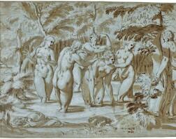 306. german school, circa 1600 | diana and herattendants bathing, surprised by actaeon