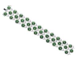 9039. 天然翡翠雕「懷古」配鑽石手鏈