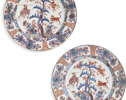 1003. a pair ofdutch-decorated chinese blue and white plates the porcelain qing dynasty, kangxi period, the decoration slightly later