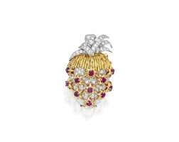 12. gold, diamond and ruby clip-brooch, schlumberger for tiffany & co., france