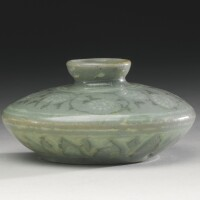 51. a korean slip-inlaid celadon stoneware oil bottle goryeo dynasty, 13th century