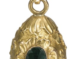 444. a jewelled gold egg pendant, french, circa 1910