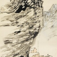 2. 張大千 《山水圖》 設色紙本 立軸 癸未年作 (1943)