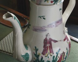 48. staffordshire enamelled salt-glazed stoneware coffee pot and cover circa 1760