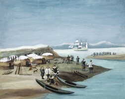 281. painting showing the italian stella polare expedition. [early twentieth century]