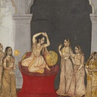 48. a princess seated in an interior, possibly desavarati ragini, attributable to mihr chand, india, oudh, circa 1770