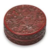 2. 明永樂 御製剔紅雲龍趕珠紋蓋盒 《大明永樂年製》針刻款 |