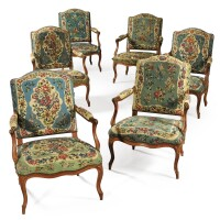 41. a louis xv suite of six carved beechwood armchairs, stampedj.b lelarge, circa 1740  