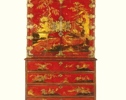 9. a queen anne chinoiserie scarlet and gilt japanned cabinet on secrétaire chest circa 1710