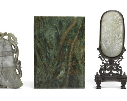 201. an incised and gilt green jade plaque qing dynasty, 19th century