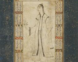 13. jeune femme turque à la rose : miniature ottomane montée en page d'album, attribuée à vali jan, turquie, art ottoman, période du sultanmurad iii (1574-1595)