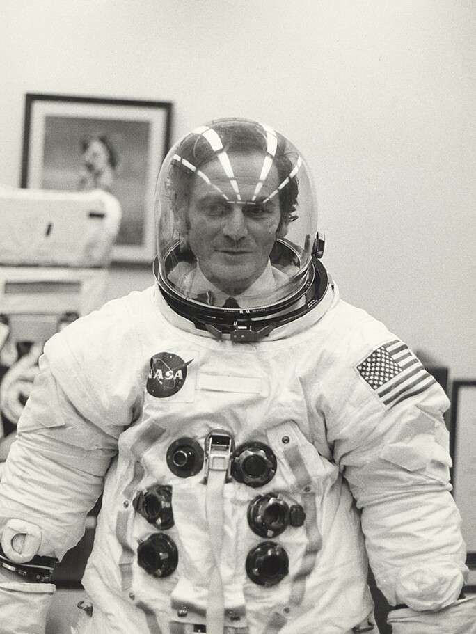 Pierre Cardin wearing Apollo 11 space suit.jpg