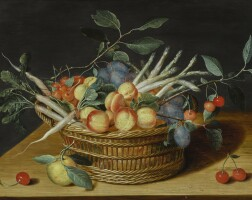 149. isaak soreau   still life with fruits and vegetables in a basket