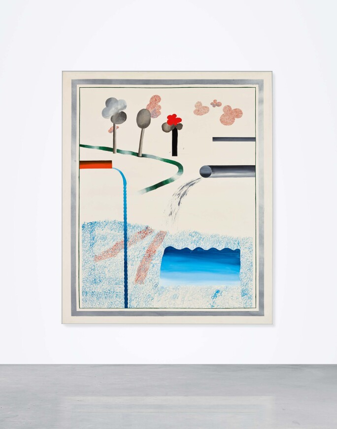 David Hockney, Different Kinds of Water Pouring into a Swimming Pool, Santa Monica