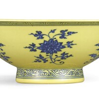 3646. a rare yellow-ground and underglaze-blue 'floral' bowl mark and period of yongzheng |