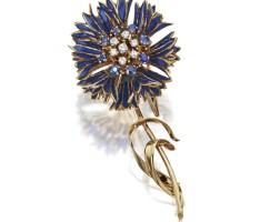 3. plique-à-jour enamel, diamond and sapphire flower brooch, french, circa 1950