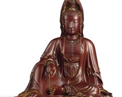3508. a very rare inlaid lacquered wood figure of guanyin by lu kuisheng, qing dynasty,jiaqing – daoguang period  