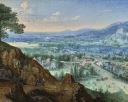 27. 盧卡斯·凡·瓦克布奇 | 《陶努斯景觀,鄰近巴特施瓦爾巴赫,山溪旁見旅者》