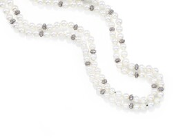32. cultured pearl and diamond necklace