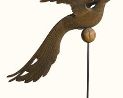 691. rare carved pine pheasant hen weathervane probably connecticut, circa 1875