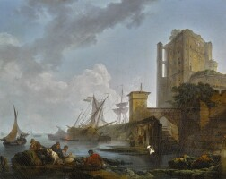 200. philippe jacques de loutherbourg, r.a. | a calm: a harbour scene, with fishermen resting near ruins