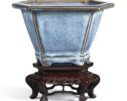 3308. an extremely rare jun blue-glazed hexagonal flower pot early ming dynasty |