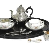 28. an austrian silver and meissen porcelain 'tête-à-tête' tea service, j.c. klinkosch, vienna, circa 1900  
