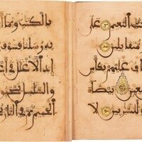 4. two qur'an leaves in maghribi script, north africa or andalusia, late 12th/13th century ad