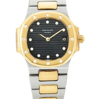 20. patek philippe   nautilus, reference 4700/21 a yellow gold, stainless steel and diamond-set bracelet watch with date, made in 1982