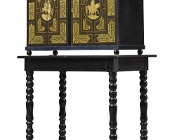 21. a northitalian baroque style ebony and pen-engraved ivory inlaid tablecabinet 19th century