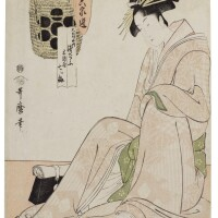 9. kitagawa utamaro i (1750s–1806)the courtesan asaju of the daimonjiya and nanatsu-ume sake by momenya edo period, 18th century | the courtesan asaju of the daimonjiya and nanatsu-ume sake by momenya, from the series aristocrats of sake compared to courtesans of six selexted houses (natorizake rokkasen), edo period, circa 1794