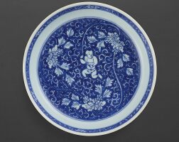 3107. a blue and white 'boy and peony' dish mark and period of kangxi |