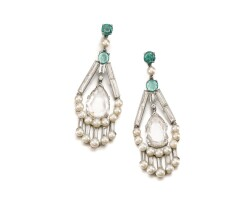 56. pair of cultured pearl, emerald and diamond ear clips, 1930s and later