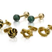 38. three pairs of gold cufflinks