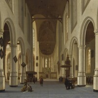 146. attributed to hendrick cornelisz. van vliet   interior of the oude kerk, delft,with figures strolling in the central nave