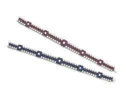 329. two gem set and diamond bracelets