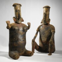25. large jalisco seated couple, san juanito style, protoclassic, ca. 100 b.c.-a.d. 250