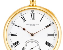142. patek philippe   chronometro gondoloa pink gold openface watch, made in 1905