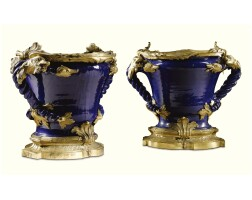 1. a pair of french gilt-bronze-mounted blue nevers jardinières the faience late 17th/early 18th century, the gilt-bronze mid 19th century