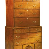 781. queen anne carved and figured maple chest-on-chest, bedford, new hampshire, circa 1780