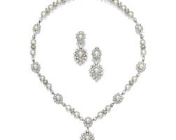 1628. 養殖珍珠 配 鑽石 項鏈 及 吊耳環套裝, 梵克雅寶(van cleef & arpels)